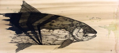 """Dead Ruler   2016   25"""" x 12""""   Pen and ink on wood panel"""