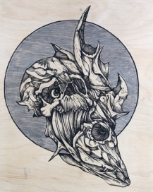 """Emerge   2016   8"""" x 10""""   Pen and ink on wood"""