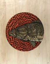 """Spirit Animal   2016   12"""" x 20""""   Pen and ink on wood"""