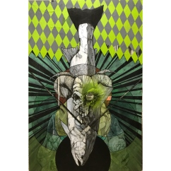 """Master of Reality (Emerald Waters)   2017   24"""" x 48""""   Mixed media on wood panel"""
