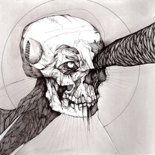 """Fucking Skull   2011   Pen and ink on paper   12"""" x 12"""""""