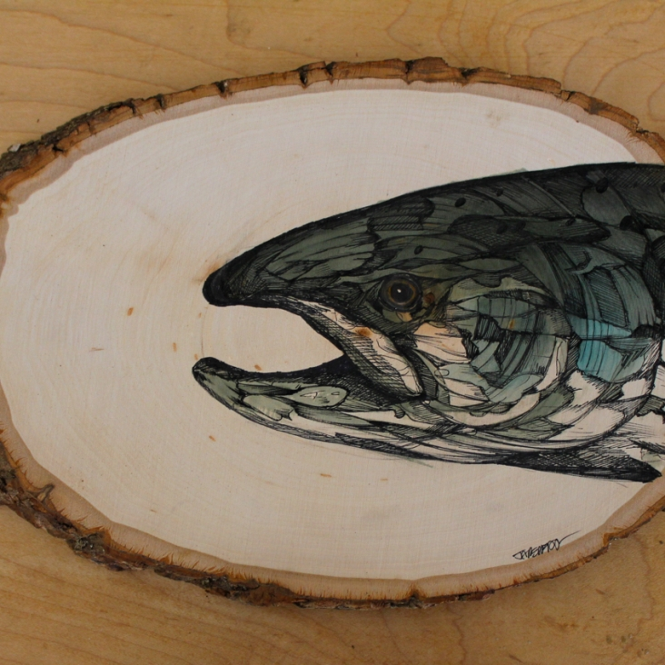 """Coho   2016   Approx. 9"""" x 6""""   Ink, pen and watercolor on wood"""