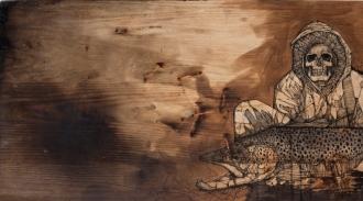 "Necromancer: Creeper of MKE   2015   36"" x 20""   Mixed media on charred wood panel"