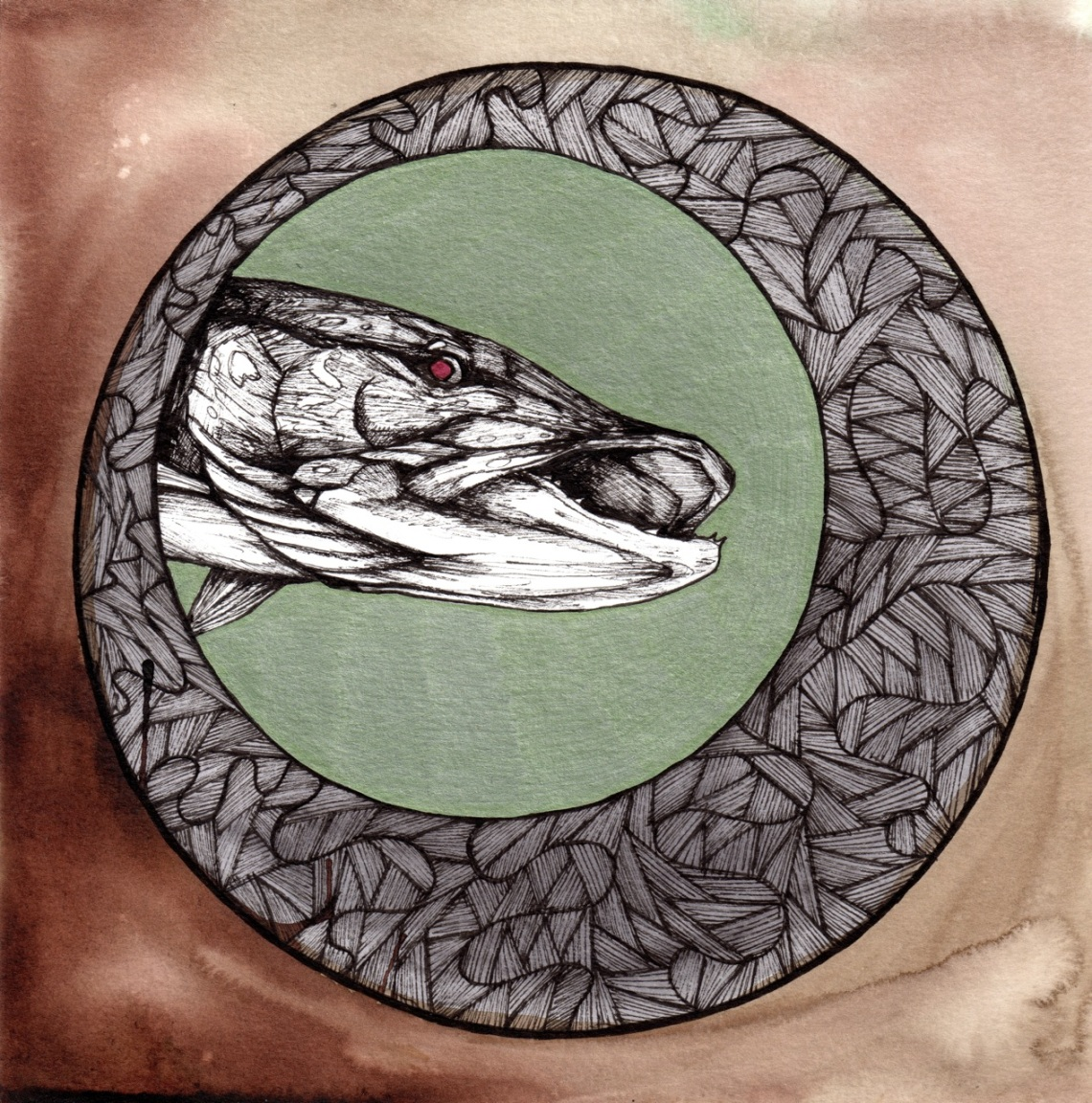 """Water Wolf   2013   8"""" x 8""""   Pen and ink on paper"""
