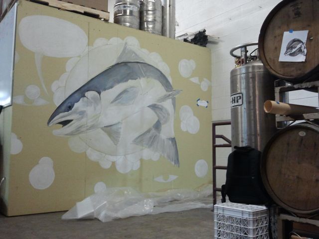 Two hours into the project - good start.  The mural is the first thing you see when entering the brewery.