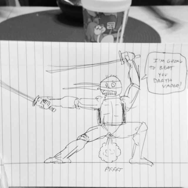 Drawing at dinner to entertain my son..taken what I can get.