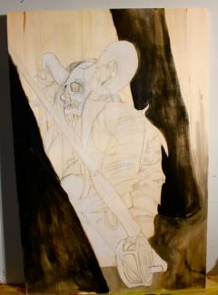 "Necromancer: MZA The Free Thinker - in progress - 24"" x 36"""