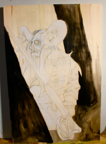 "Necromancer: MZA The Free Thinker - in progress - 24"" x 36"""