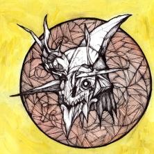 "November Mask | 2013 | 6"" x 6"" | Mixed media on paper"