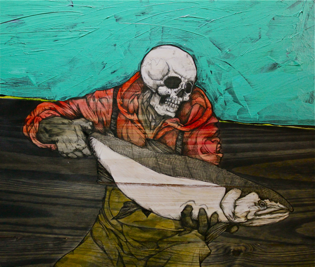 """Slint The Red-Hooded (Necromancer 1)   2014   19"""" x 18""""   Pen, acrylic and watercolor on wood panel"""