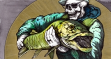 "Pilecastius the Dragon Slayer (Necromancer2 ) | 2014 | 12"" x 6"" | Pen and watercolor on paper"