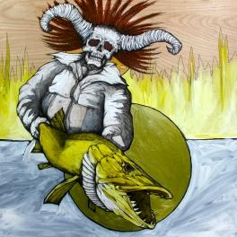 "Gonterakus The Conjurer (Necromancer 3)   2014   24"" x 24""   Pen and acrylic on wood"