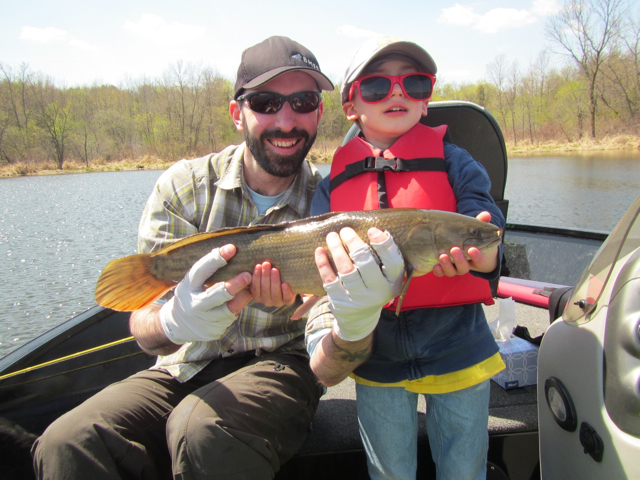 Fishing with the boy - he fought this bowfin like a champ.