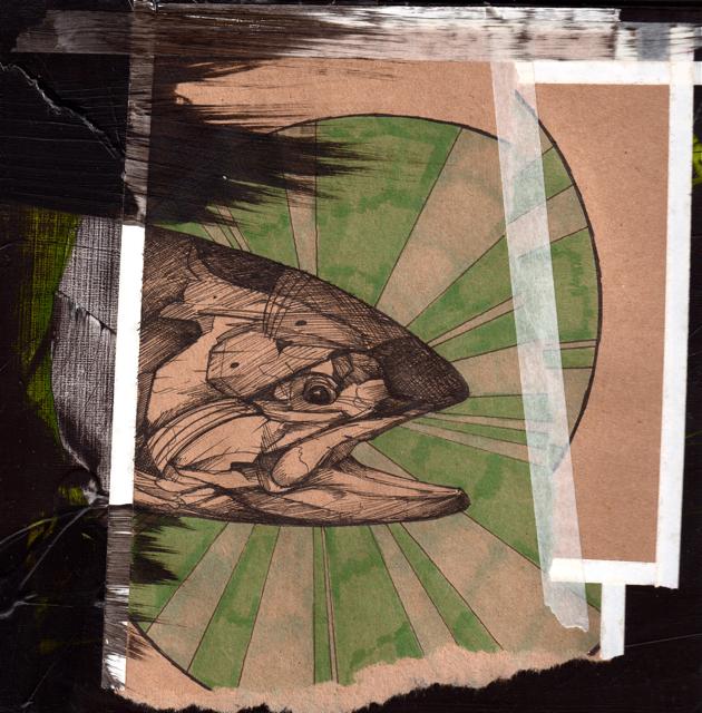 """Dark Coho   2014   8"""" x 8""""   Mixed media on wood"""