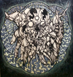 """The Ghost I Have Been   2014   12"""" x 12""""   Mixed media on wood panel"""