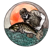"""Necromancer: Warlock of The Smalljaws   2016   8"""" x 8""""   Ink, watercolor, and pen on paper"""