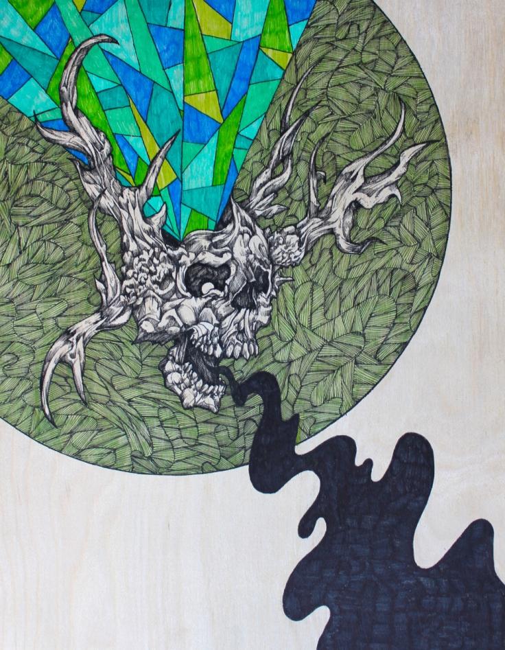 "Winter's Howl | 2015 | 11"" x 14"" | Mixed media on wood panel"