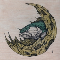 """Cradle: Midlife   2016   8"""" x 8""""   Pen and ink on wood panel"""